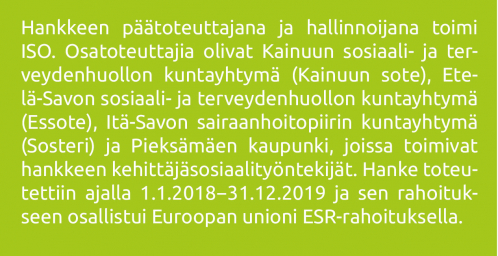 ISO SOS -hankkeen osatoteuttajien luettelo sekä rahoittajataho EU:n ESR-rahoitus.